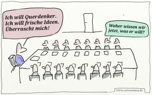 """Gut in Szene gesetzt von H. Kopp-Wichmann, finde ich. In Beratungen finde ich ähnliche Situationen. Inwieweit gehen sind die """"Chefs"""" Vorbilder in neuen Wegen gehen? Umgang mit notwendigen Fehlern?"""